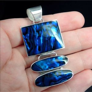 🆕Blue Paua Abalone Shell Sterling Silver Pendant